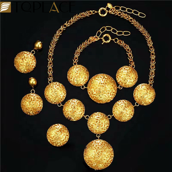 2019 New gold plating glass jewelry set on big sale collar necklace earrings bracelet rings