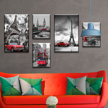 5 pieces of painting micro-jet copy car Eiffel Tower Unique black and white Wall Art canvas printing