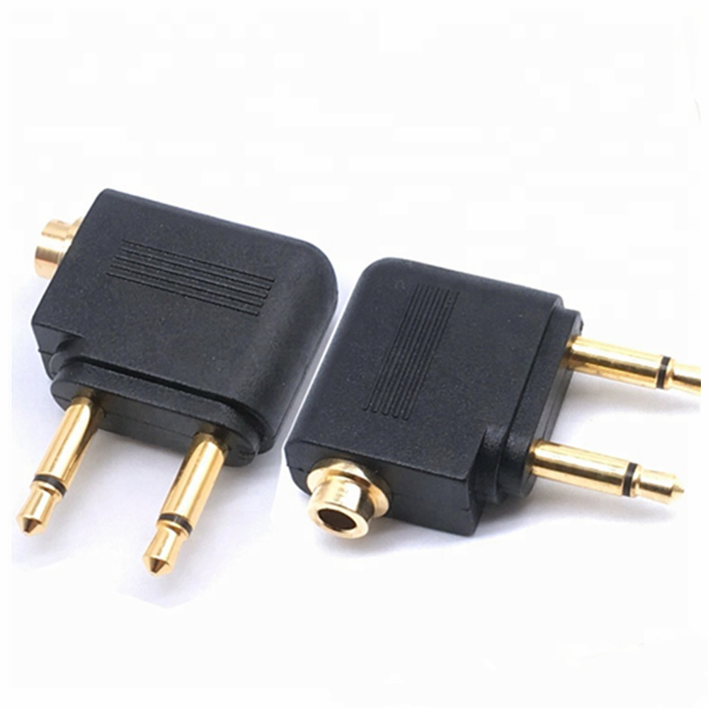 3.5 mm Airplane Airline Flight Travel Headphone Jack Audio <strong>Adapter</strong> Dual 3.5mm Male to 3.5mm Female <strong>Adapter</strong> Plug