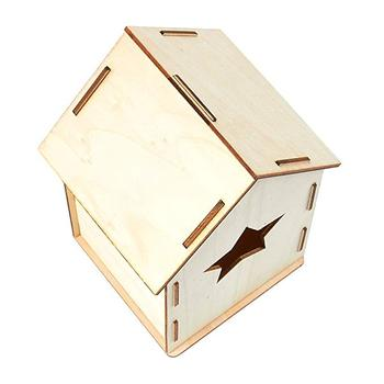 Home Decor Craft Mini DIY Unfinished Wood Birdhouse