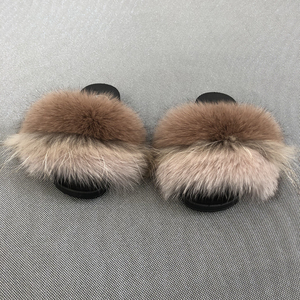 hot sale best quality real fur slides slippers for kids