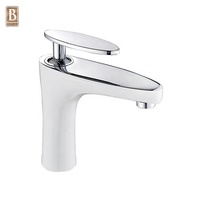 Modern Hotel Home Toilet Deck Mounted White Color Brass Wash Basin Faucet