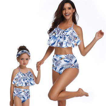Parent-Child Swimsuit Bikini One-Piece Mother Daughter Sexy Floral Family Swimwear