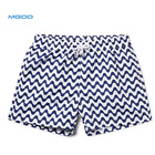 MGOO OEM 4 Way Stretch Black And White Wavy Pattern Polyester Spandex Men Beachwear