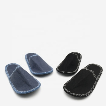 Nonslip Fuzzy Slip on TPR Sole Shoes Indoor Outdoor House Wool Felt Slippers with Memory Foam Breathable Sandal