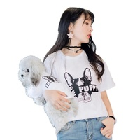 White summer t shirts pet cats match owner and dog clothes