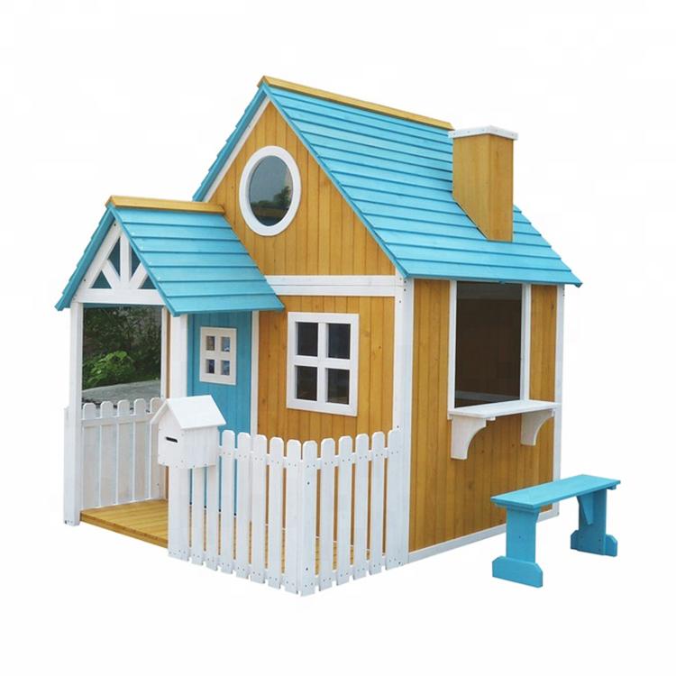 Jardín al aire libre patio para niños 2 pasos casa de juegos de madera patio de juegos para niños con porche