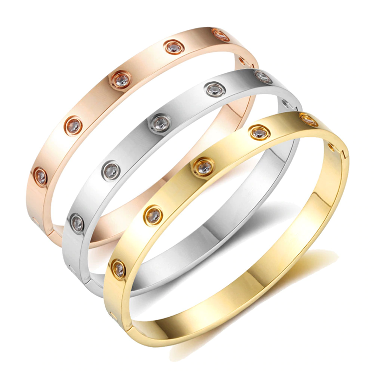 Jewelry Polished Mens Women Gold Plated Screws Bracelet Rose Gold Bangle