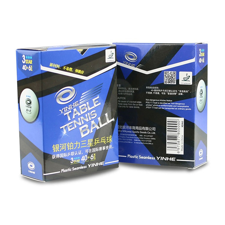 Packaging box good quality 3 star seamless yinhe table tennis ball