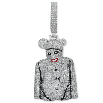 2019 Clown MICKY Pendant Necklace Silver Color Cubic Zircon Men's Hip hop albums Jewelry For Gift dropshipping