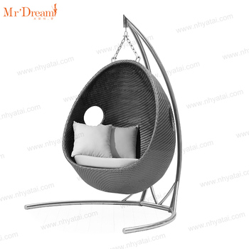 Mr.Dream Adult rattan wicker aluminum hanging egg shaped outdoor garden cane  patio swing chair