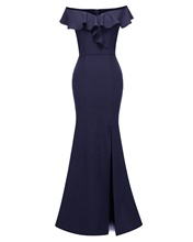 Vrouwen Off Shoulder Ruffle Bodycon Lange <span class=keywords><strong>Jurk</strong></span> Elegante Vrouw Split Flare Vintage Maxi <span class=keywords><strong>Jurk</strong></span> Strapless Slit Formele <span class=keywords><strong>Jurk</strong></span> DN-1683