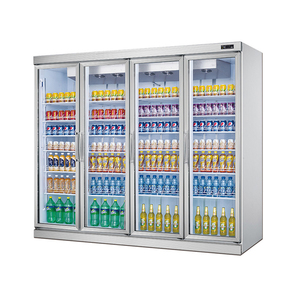 4-door First-class Aluminium supermarket upright display fridge/beverage refrigerated showcase cabinet/soft drink display cooler
