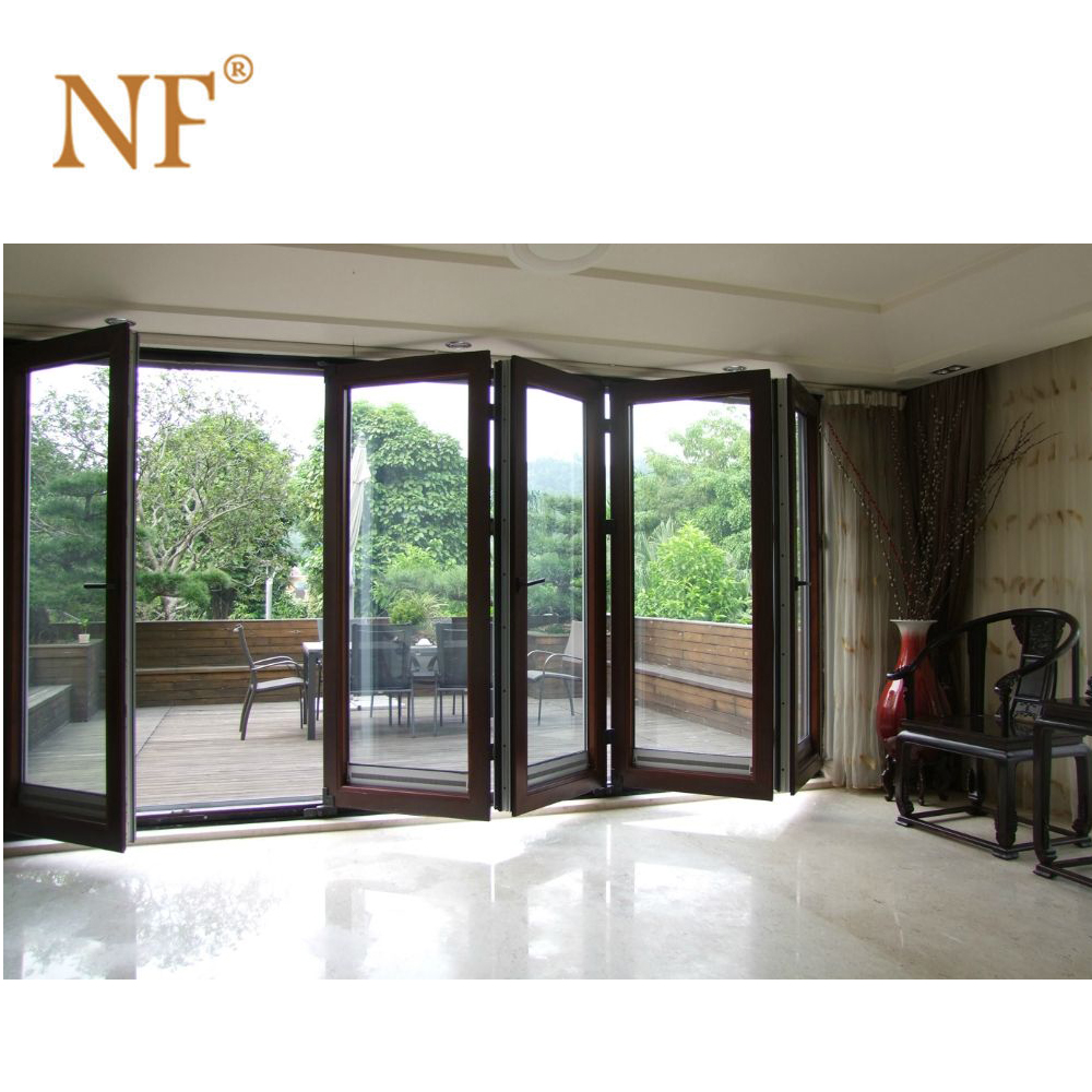Aluminium exterior interior used glass double entry folding/bifold doors