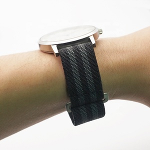 JUELONG 20mm 22mm Black Grey Wrist Watch Straps Nato Nylon Watch Strap Elastic Watch Band Strap