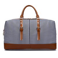 In Stock Custom Large ladies women stripe duffle bag fashion shoulder tote travel canvas weekend bag
