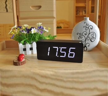 Hot sales home decoration MDF gift and promotional wooden led clock