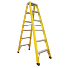 Adjustable fiberglass double sided telescopic step ladder