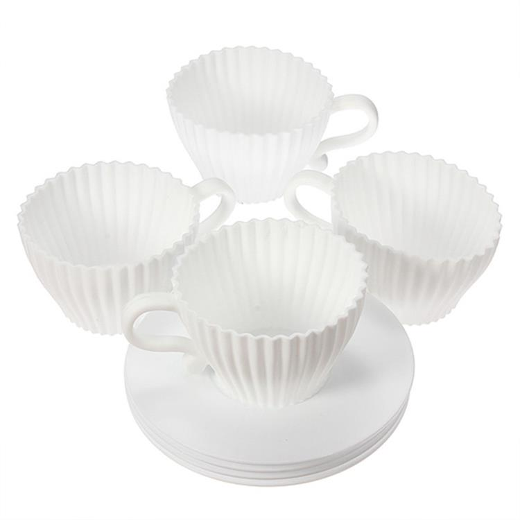 8 pçs/set Teacup Silicone Moldes Do Queque Para Bolos