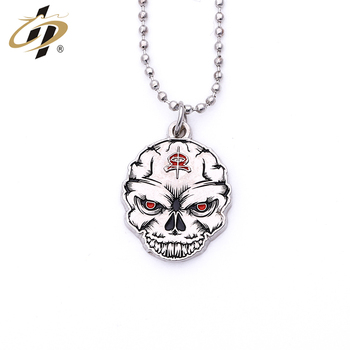 Novelty products  custom 3d zinc alloy silver enamel  Skull metal dogtag with necklace