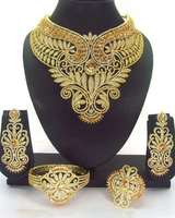 Queency Gorgeous Wedding Bridal Costume African Jewelry sets Big Glass Rhinestone Statement Necklace Stud Earring Set Women Part