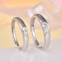 Latest Romantic Valentine's Day Gift Adjustable Wedding Ring Set White Gold Plated Zirconia 925 Silver Heart Couple Rings