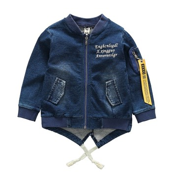 children clothing girls boys cotton fabric printed washed autumn jean jacket for kids.