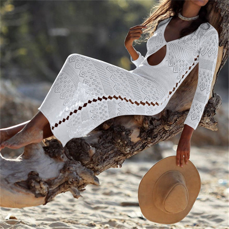 2019 Long Crochet Knitted Beach <strong>Cover</strong> <strong>ups</strong> Swimsuit <strong>cover</strong> <strong>Up</strong> Beach wear <strong>Bikini</strong> <strong>Cover</strong> <strong>up</strong>
