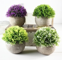 V-3062 4 Pcs Mini Potted Plants Small Artificial Succulents For Office Desk Decoration