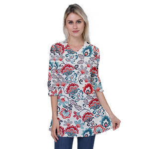 Womens 3/4 Sleeves Plus Size Floral Tunic Shirts Summer Casual Dressy Blouse Tops
