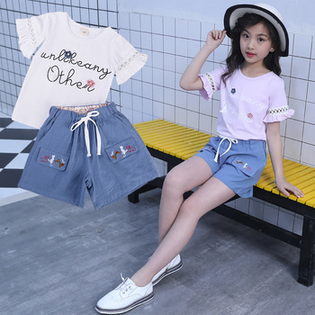Children Girls Clothes Shops Online 2 Piece Hollow Lotus Sleeve Matching Top And Shorts Outfit For Girls