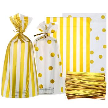 Disposable Clear Cello Bag Gold Polka Dot Stripe Treat Bags with Twist Ties Chocolate Candy Snack Cookie Wrapping Cellophane bag