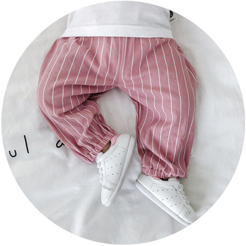 2019 New Wholesale Summer Korean striped children cotton boys and girls' trousers