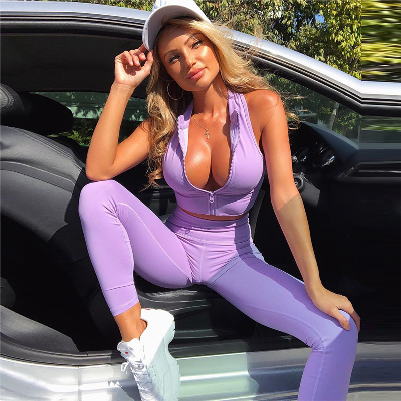 2019 frauen zipper ärmel crop top leggings yoga sets fitness-workout kleidung