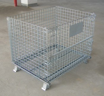 Durable Collapsible Wire Container for Warehouse