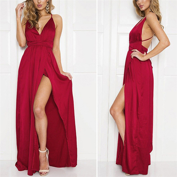 Maxi Dress Party Sexy Satin Slip Backless Off Shoulder Multiway Wrap Sexy Bandage Long Dress Women 2019