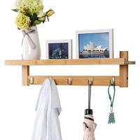 Wall-Mounted Bamboo Coat Rack with 5 Metal Hooks and Upper Shelf Bamboo Wall Rack