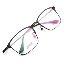 (High) 저 (Quality 초경량 Classic Vintage Retro 티타늄 광 Glasses <span class=keywords><strong>프레임</strong></span> men 눈 (gorilla glass)