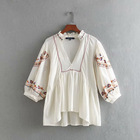 V neck with ruffle long sleeve cotton embroidered blouse women new model korean fashion shirt