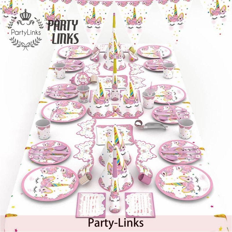 16 Lila Mittagessen Servietten Magischer Einhorn Regenbogen Party Geschirr