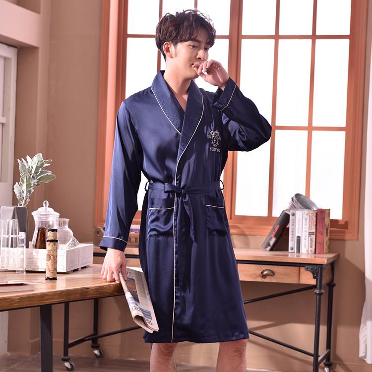 bc5c4ebdb166d Двойка синий атласный шелк мужская шелковая ночная рубашка, ночная рубашка  для мужчин