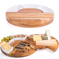Round Cheese Board and Knives Set, Acacia Wood Charcuterie Boards - Appetizer Serving Tray with Ceramic Bowls, Knife Spreaders
