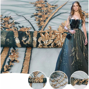 2019 beautiful wedding fabric gold sequin flower embroidered sequin lace fabric