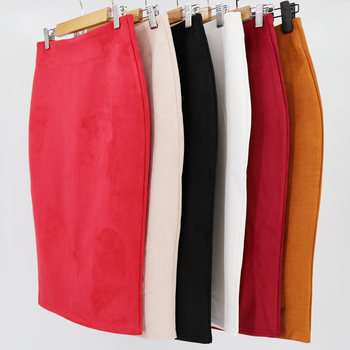 office lady Women Solid Suede Wear Package Hip Midi Pencil knitting skirt