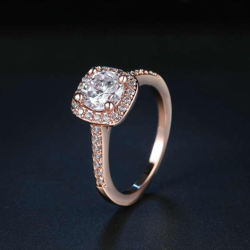 faaf45428a3a De Lujo joyería 10 K oro rosa diamante anillo anillos de circón para regalo  ...