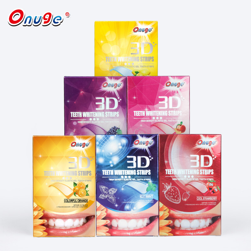 Peroxide gratis Fruitige 3d witte tanden whitening strips private label