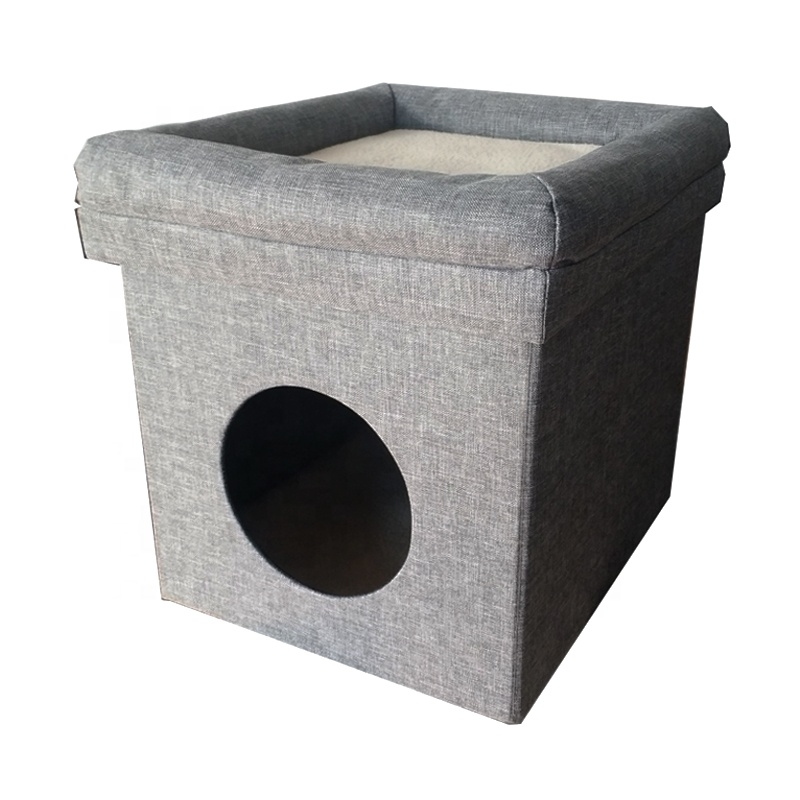Indoor foldable storage stool dog cat pet house with mat