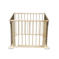 Wood Portable Baby Foldable Playpen, Room Divider Wooden 4 Side Panel