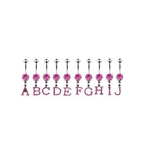 Jeweled Letter Belly Navel Piercing initial belly button rings