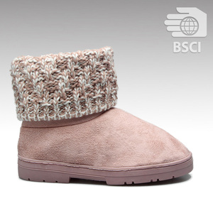 HC-185 BSCI approved factory 2019 new knitted shaft stitching sole cheap casual warm winter snow boot for woman
